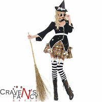 Ladies Sexy Witch Costume Steam Punk Victorian Fancy Dress Halloween Outfit New
