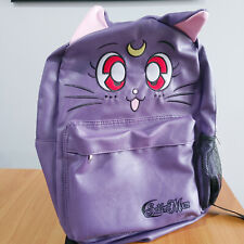 NEW Sailor Moon Luna Purple Faux Leather Embroidered Face Character Backpack NWT