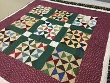 Handmade Colorful Malvina's Chain Quilt Throw Wall Hanging Excellent Condition