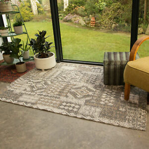 Contemporary Beige Hallway Runner Tribal Living Room Bedside Rugs CLEARANCE SALE