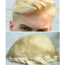 Blonde Toupee Mens Hairpieces Natural Hair Replacement System Swiss Lace #613