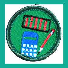 MATH WHIZ Girl Scout 2001 Jr. Jade BADGE Calculator Abacus NEW Multi=1 Ship Chrg