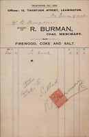Leamington. 'R Burman'. Coal Merchant. 15 Tavistock Street. 1924  ZT33