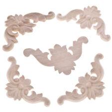 5Pcs Unpainted Wood Oak Carved Corner Onlay Applique Furniture Moulding Decor