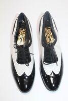 SALVATORE FERRAGAMO Black White Leather Wingtip Oxford Spectator Shoes 7.5 AAAA