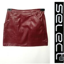 NEW SELECT UK 12 BROWN FAUX LEATHER MINI SKIRT #34