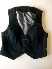 Ladies waistcoat Size 16 New Look Black -striped lining Back elastication WW2