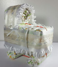 Diaper Cake Bassinet Carriage Baby Shower Gift Neutral - White and Ivory Hearts