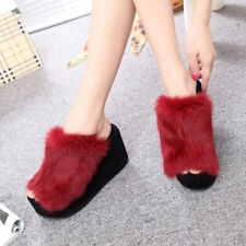 Women Platform Faux Fur Sandal Casual Slippers Shoes Furry High Wedge Heels Chic