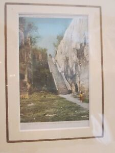 """ANTIQUE MATTED POSTCARD OF """"THE QUEEN'S STAIRCASE"""", NASSAU BAHAMA ISLANDS"""
