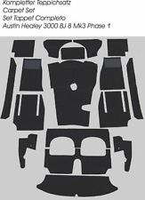 Black velours carpet kit for Austin Healey 3000 MK3 BJ8 Phase 1 LHD