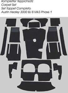 Black velours carpet kit for Austin Healey 3000 MK3 BJ8 Phase 1 LHD