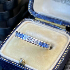 Art Deco 18ct,18k, 750 white gold Sapphire & Diamond Eternity, anniversary ring
