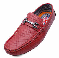 MENS RED SLIP-ON DRESS SHOES SMART CASUAL BOAT DECK LOAFERS MOCCASINS UK 6-11