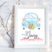 Personalised A4 Print,Watercolour Wedding Car, Gift, Wall Art-NO FRAME