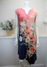 One World Micro Jersey Knit Dress Short Cap Sleeve Notch Neck Floral Peach Blue