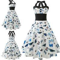 Vintage Dresses halter Dress Swing Retro floral women Sleeveless Summer Evening