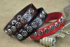 JS302 Lot 3pcs Surfer Love Flowers Studded Leather Wristband Bracelet Cuff