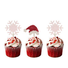 Christmas Snowflake & Santas Hat Cupcake Toppers - Pack of 8- Glittery Red&White