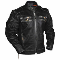 Men's Rivet Motorcycle Gangster Black Real Leather Jacket Halloween Special