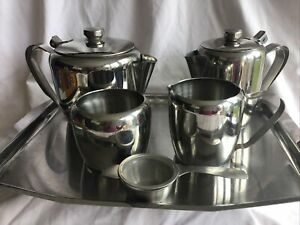 VINTAGE  18-8 STAINLESS STEEL 6 Piece Tea Set Including Tray