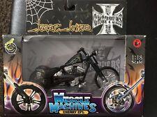 NIB Muscle Machines Black 1/18 Cherry CFL James West Coast Chopper Motorcycle