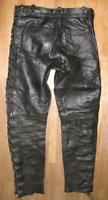 """ Akito "" Men's Lace-Up Leather Jeans Biker Trousers IN Black Approx. W33 ""/ L33"