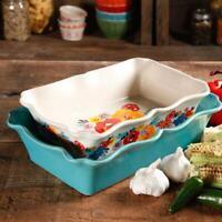 The Pioneer Woman 2 Piece Rectangular Ruffle Top Ceramic Bakeware Set Baking New