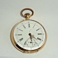 Antique Remontoir Cylindre Rubis 14K Yellow Gold Pocket Watch