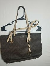 Michael Kors Jet Set Travel Tote Brown MK Logo and Charm Carry All Tote w/wallet