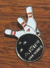 "AMF 600 Series 1"" Inch Small Bowling Ball & Pin Collectible Pin / Brooch / Lapel"