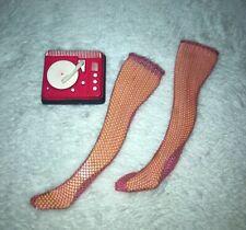 Barbie Vintage Pink Long On Look Sugar Sheer Fishnet Legging & Record Player