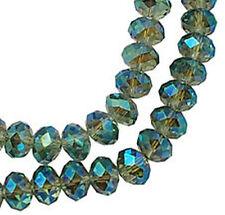 10 Stück Glasperlen 10mm x 8mm hellblau irisierend Solitär Perlen glänzend *