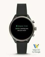 Fossil Sport Touchscreen SmartWatch Black/Smoke Silicone 41mm FTW6024 SEALED!