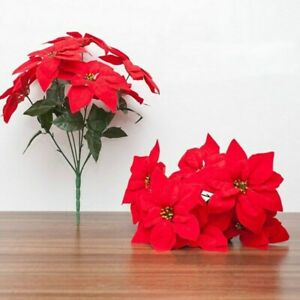 Artificial Red Poinsettia Flower Red Head Bouquet Ornament Christmas Tree Decor
