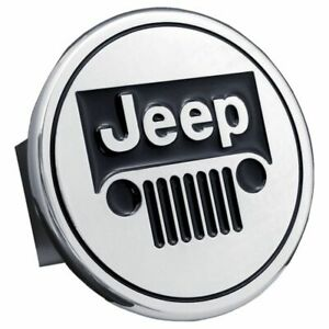 """Jeep Black and Chrome Stainless Steel 2"""" Trailer Tow Hitch Cover"""