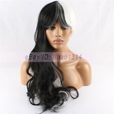 Women's Cosplay Wig Long Curly Full Bangs Heat Resistant Black and White Fashion