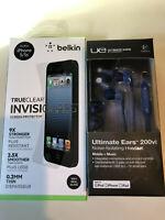 LOGITECH Ultimate Ears 200vi+BELKIN TrueClear InvisiGlass for iPhone 5/5S NEW