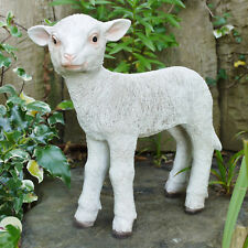 White Lamb Sheep Farmyard Animal Garden Statue Ornament Resin Sculpture Large