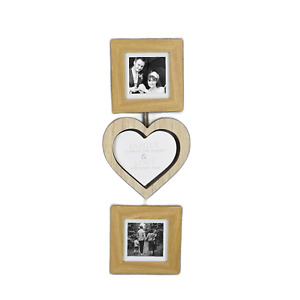 """Triple Hanging Photo Frames / Heart Hanging Wall Plaque (18"""" total drop)"""