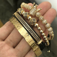Luxury Handmade Hip Hop Men Pave CZ Crown Braiding Bracelet Roman Numeral Bangle