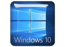 """Windows 10"" Logo Sticker 1""x1"" Bubble Domed Chrome Effect Case Badge"