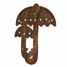 Wooden Handcarved Umbrella Wall Key Holder Stand Home Kitchen Decor Gift Item