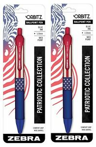 Orbitz Retractable Ballpoint Pen Medium Point Blue Ink American Flag Print 2 pcs