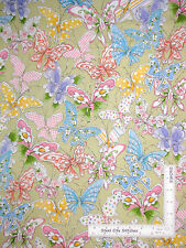 Loralie Butterfly Fabric - Butterflies Flowers On Sage #23870H Up & Away - YARD