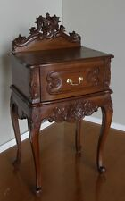 Solid Mahogany French Rococo Bedside Table with drawer handcarved BS024