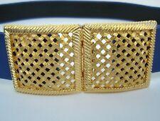 """Vintage Paquette Basket Weave Belt Buckle Gold Plated Women's Adjustable up 37"""""""