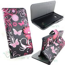 Custodia booklet BUTTERFLY in black per HTC One M9 cover STAND case portafoglio