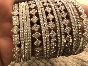 Silver Diamante Bangles Indian Bracelets