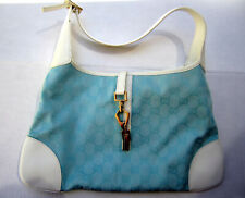 Gucci Monogram Turquoise Canvas White Leather Jackie Hobo Handbag Purse NEW COND
